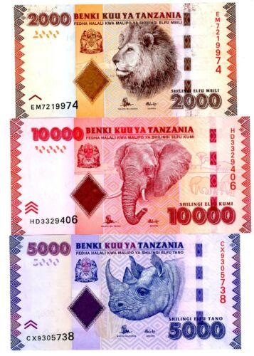 Tanzania … P-42-44 … 2,000-5,000 Shilingi … ND(2010) ... * CHOICE UNC *