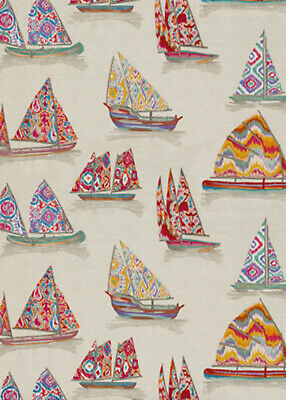 GP&J BAKER ETHNIC CHIC EAST TO WEST SAIL BOATS  EMBROIDERED FABRIC 10YARDS
