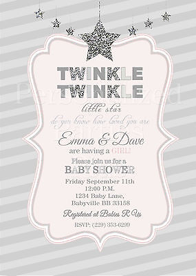 Twinkle Twinkle Little Star baby shower invitations in silver and pink - Twinkle Twinkle Little Star Invitation