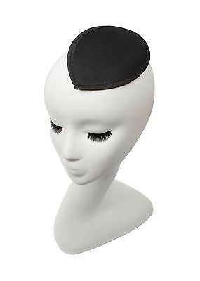 Black Satin Teardrop Fascinator Millinery Hat Base with Clips - 12 Colors