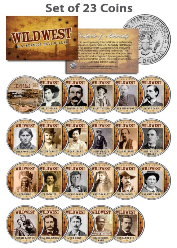WILD WEST / OLD WEST OUTLAWS Complete Set of 23 U.S. JFK Half Dollar Coins