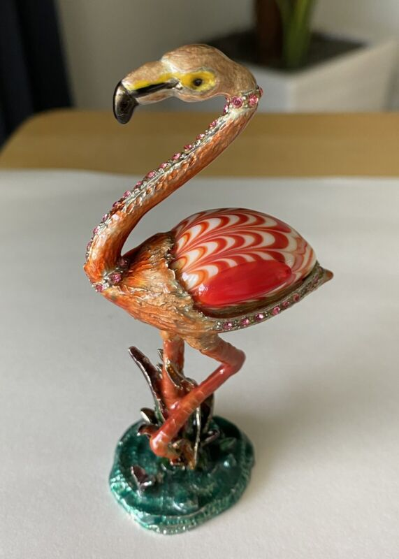 "Metal Flamingo Figurine Beautifully Handcrafted Marble Body & Rhinestones 4"" H"