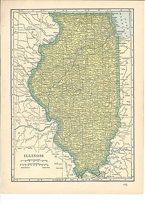 1942 Vintage INDIANA or ILLINOIS Map ready to frame for art