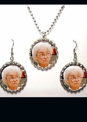 Estelle Getty Earring And Necklace Set  Gift Golden Girls Funny Tv Show Sophia