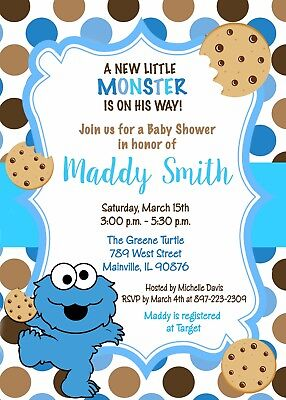 Cookie Monster Baby Shower, Cookie, Boy, Cookie Monster, Baby Shower, Invitation (Monster Baby Shower)