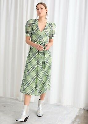 & OTHER STORIES Green Cotton Silk Blend Plaid Dress Puff Sleeves SIZE EUR 44 Puff Sleeve Cotton Blend
