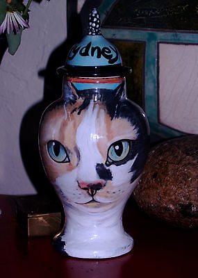 Custom Memorial CERAMIC SMALL Pet urn for CAT ashes calico any animal your pet