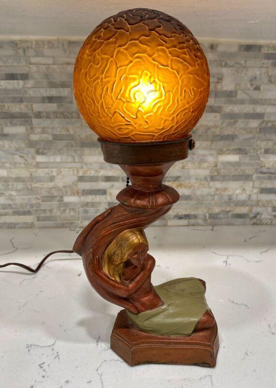 Rare Antique Original Art Deco Lamp Nude Woman - Frankart Era *works*