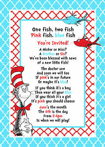 Dr Seuss Gender Reveal Baby Shower Invitation Digital File 5x7 Party 1 fish 2