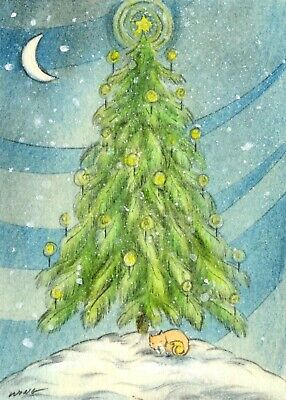 ACEO PRINT - CHRISTMAS TREE - cats pet landscape snow night moon winter holiday ()