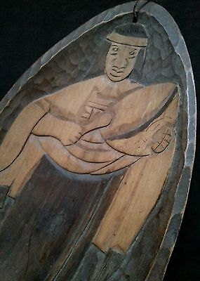Vintage Chilean Indian hand carved wood wall plaque 15 inches