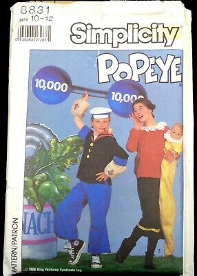 Simplicity pattern 8831 Boys/Girls' Popeye and Olive Oyl costumes size 10-12](Popeye And Olive Oyl Costume)
