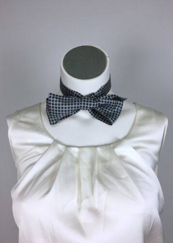 Vintage Brooks Brothers Silver/Blue Red Dot Square Silk BowTie Bow Tie ENGLAND
