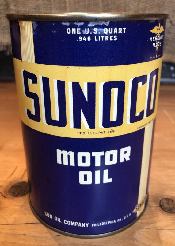 Vintage 1937 SUNOCO Motor Oil 1 Quart Oil Can Tin Mercury Made Sun Oil Full Nos
