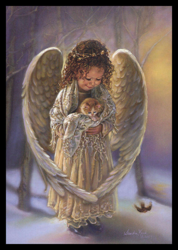 286-MSA Sandra Kuck ANGEL CAT KITTEN Christmas Greeting Card NEW