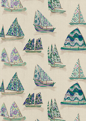 GP&J BAKER ETHNIC CHIC  EAST TO WEST SAIL BOATS EMBROIDERED FABRIC 10YARDS BLUE