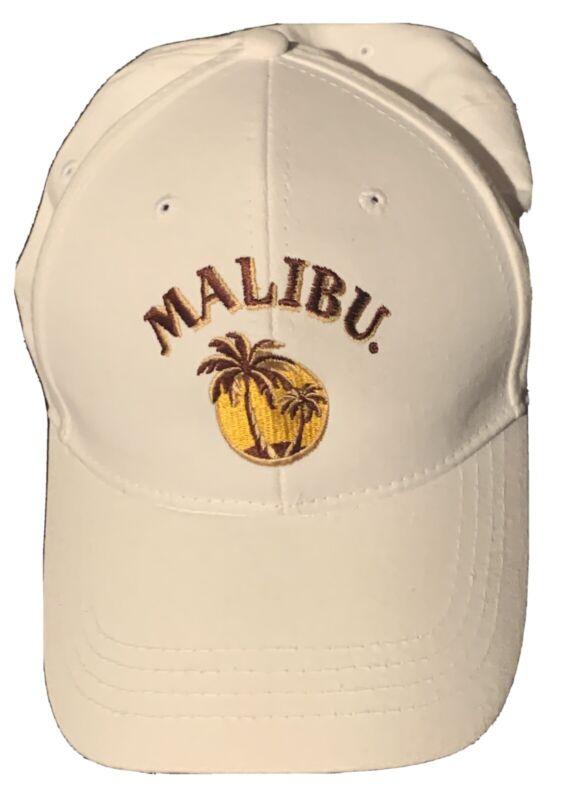 MALIBU RUM WHITE ADJUSTABLE BASEBALL HAT-LIQUOR-BAR-NEW