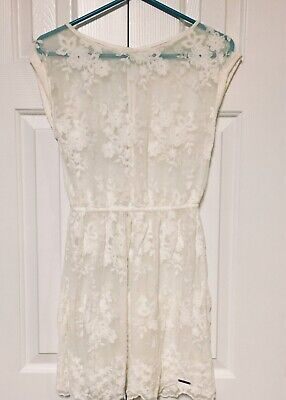 Abercrombie & Fitch Dress Lace Crochet Overlay Cream Ivory Sheer Women's Small