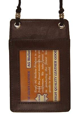 - Leather Neck Lanyard Pouch Mini Cross Body ID Badge Holder Brown 068