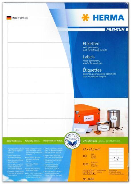 240 Etiketten 97 x 42,3  mm, 20 Blatt, für DIN lang-Kuverts, HERMA Premium 4669