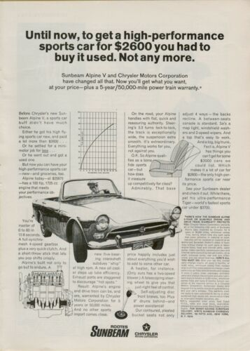 1967 Chrysler Sunbeam Alpine V Sports Car Convertible British  Vintage Print Ad