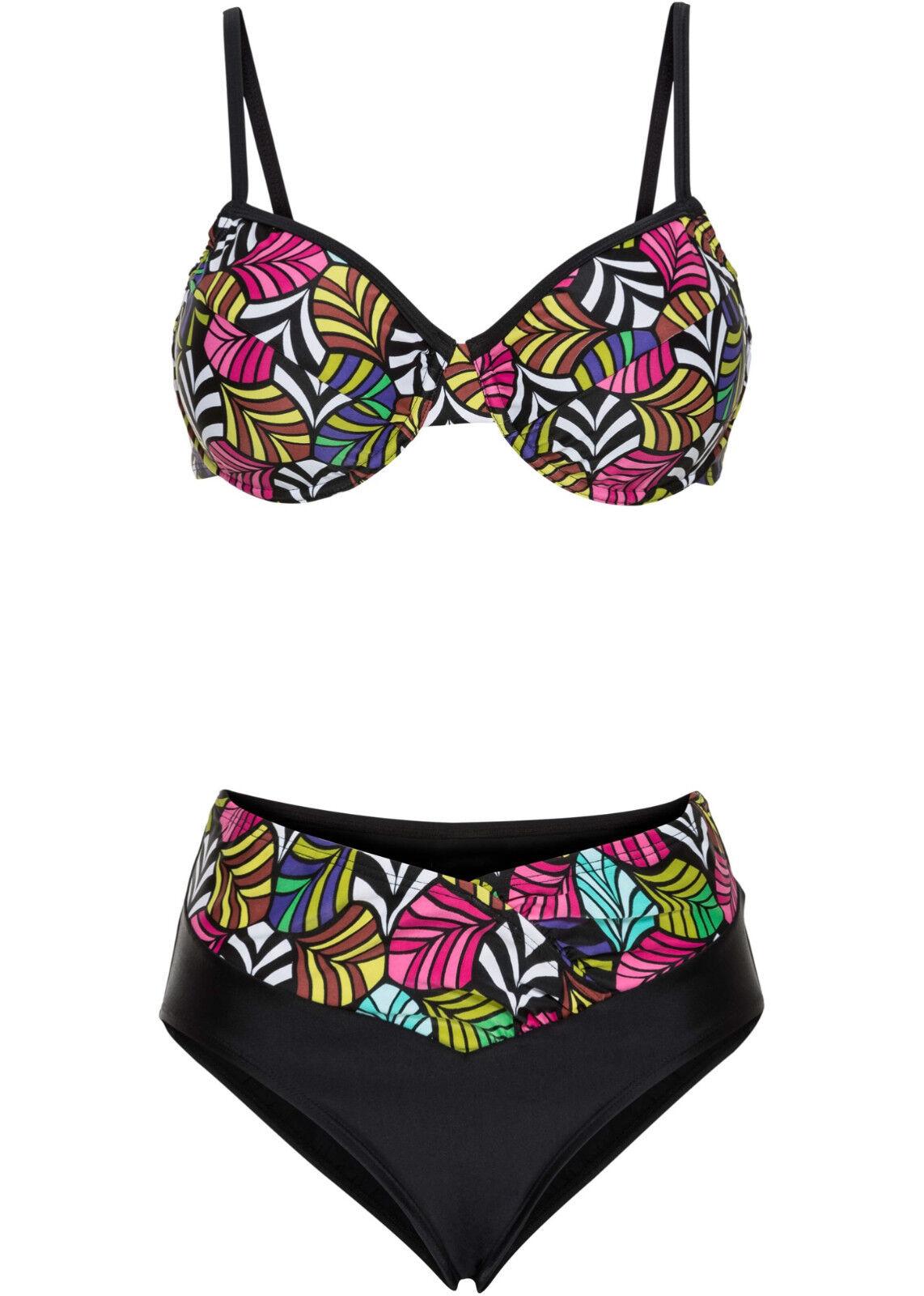 Bikini Set mit Bügel schwarz pink Allover Cup B oder C 36 38 40 42 44 46 48 neu