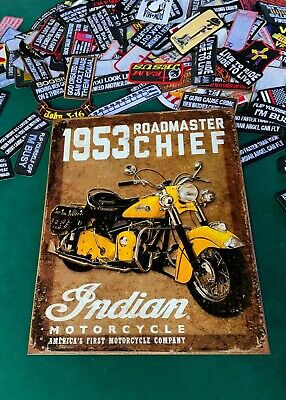 INDIAN MOTORCYCLE ROADMASTER 1953 Tin Metal Sign Wall w FREE PATCH decor vintage