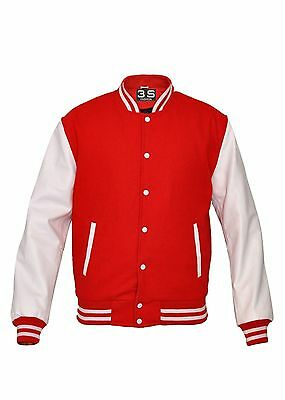 Baseball Varsity Letterman Bomber Jacket, Melton Wool and Leather Sleeves Melton Wool Letterman Jacket