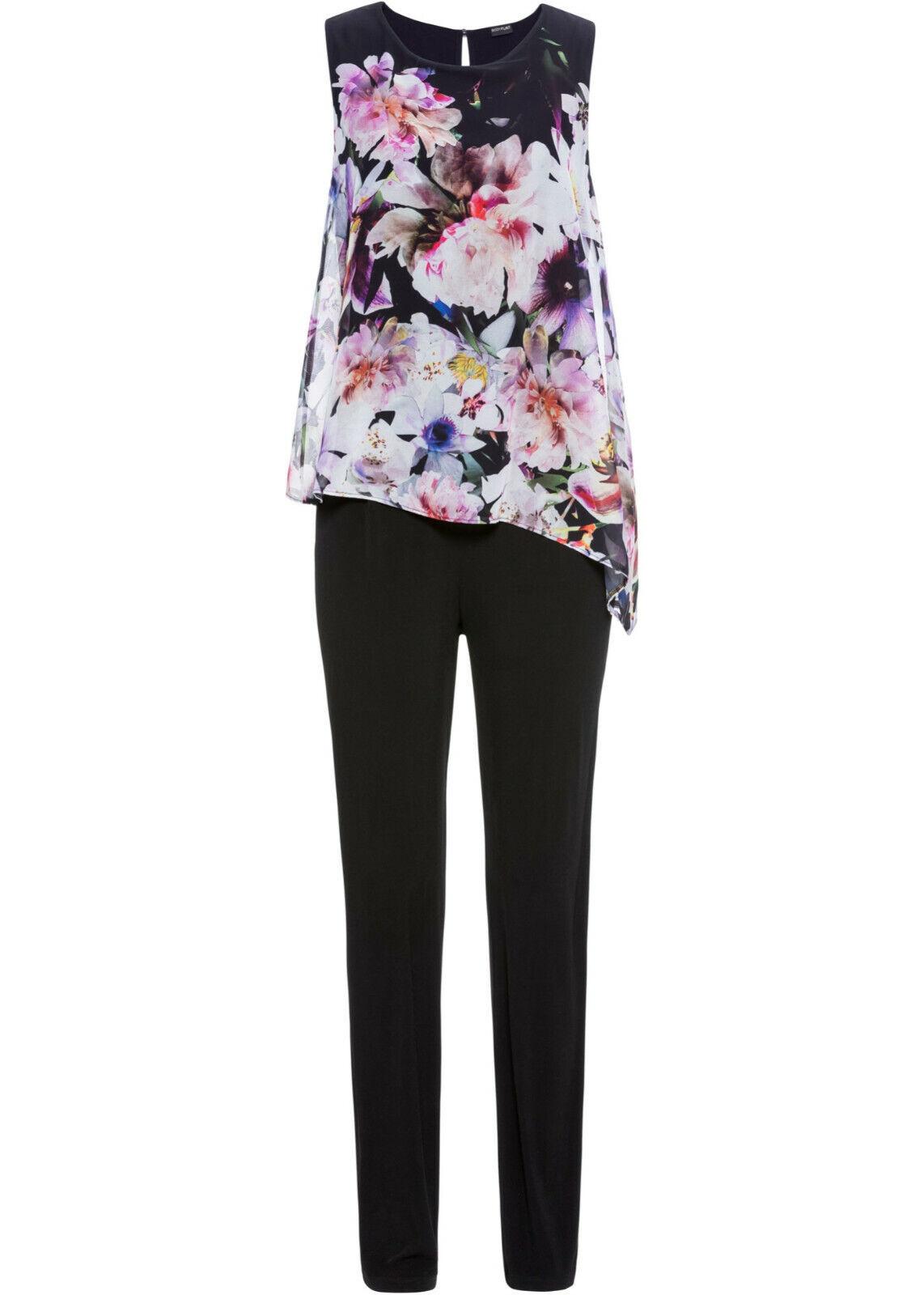 Damen Jumpsuit schwarz Blumen Elegant Overall Einteiler ärmellos Hosenanzug 003