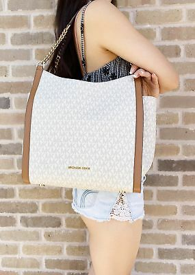 Michael Kors Newbury Studded Medium Chain Shoulder Tote Vanilla MK Acorn