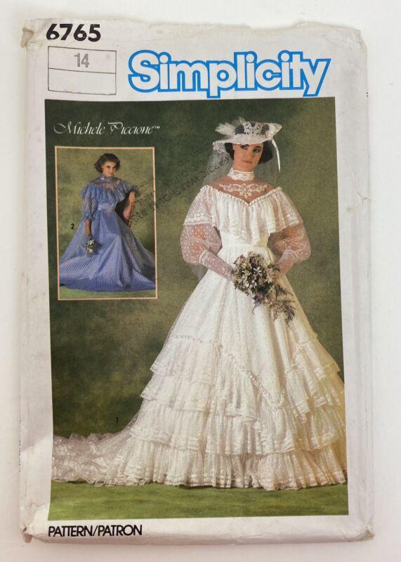 Vintage Simplicity Pattern 6765 Bridal Dress Size 14 Uncut 1984
