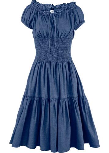 Damen Jeanskleid blau 44 46 48 50 Sommer Kleid L XL Bindeband Smokeinsatz 597