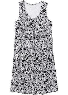 Nachthemd Schlafen (Nachthemd Damen Schlafshirt Bigshirt schwarz gemustert Baumwolle S  L XL neu 323)