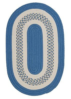 Blossom Blue Oval Rug (Flowers Bay Blue Braided Area Rug/Runner by Colonial Mills. Many Size FB51 )