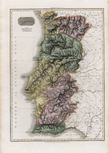 1815 Pinkerton antique map POSTER of Portugal 26