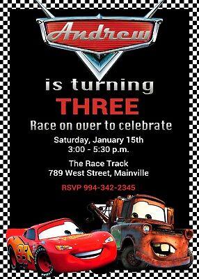 Race Car Invitations (Cars, Lightning McQueen, Mater, Race Car, Birthday Party)