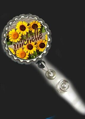 Sunflowers  Flowers personalized Badge Retractable Reel ID Holder nurse cna