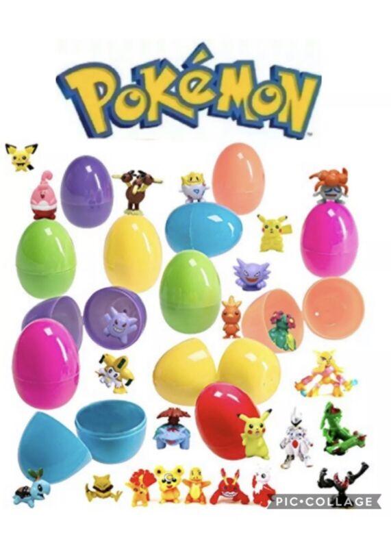 12 PCS Pokemon Action Figure Filled EASTER EGGS Set Pokemon GO Egg Hunting Game