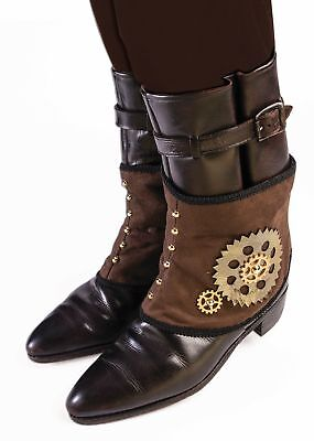 Brown Steampunk Short Costume Spats Shoe Covers Victorian Mechanical Gears Adult](Steampunk Shoe Covers)