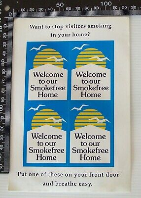VINTAGE SHEET of WELCOME TO OUR SMOKE FREE HOME HEALTH ADVERTISING PROMO STICKER