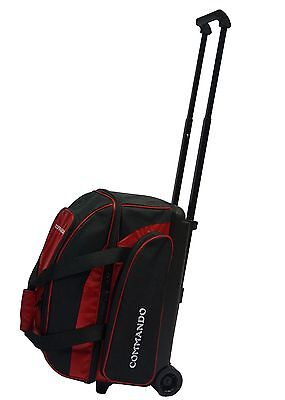 ae4e561978a9 THE COMMANDO 2 BALL   DOUBLE ROLLER BOWLING BAG in RED   BLACK ~ BRAND NEW