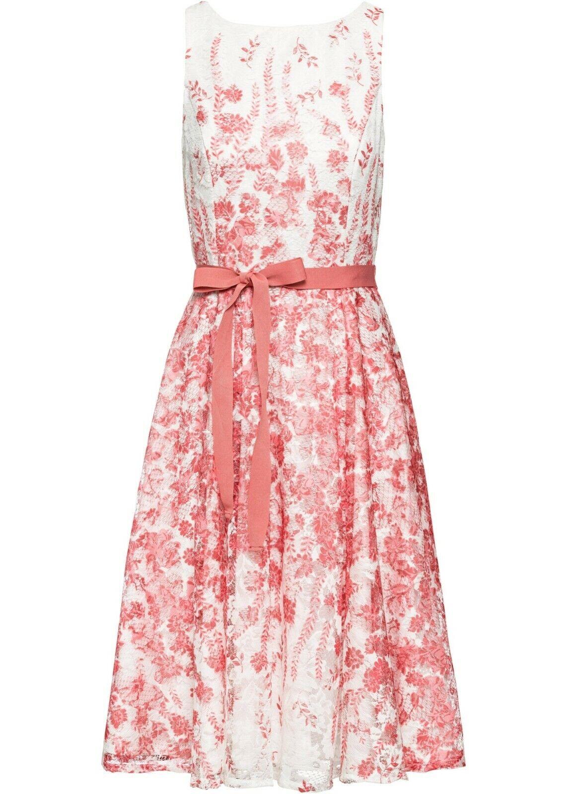 Damen Sommer Kleid weiß Blumen Spitze Midi 36 38 40 42 44 46 48 50 neu 069