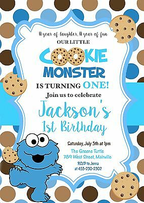 Cookie Monster, One Year, 1st Birthday, Party, First Birthday, Boy, Invitation