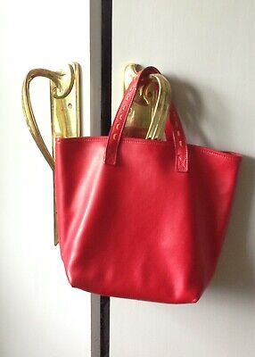 J And M Davidson Tote Bag Hand Made Red Leather Cost 650 Pounds