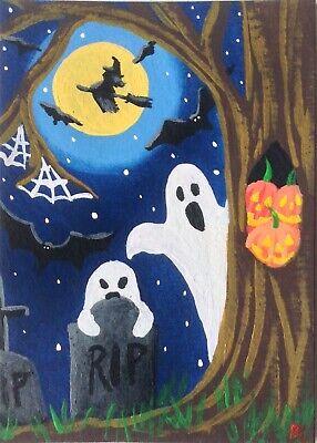 Original Pumpkins Halloween (ACEO Original Halloween Acrylic Painting Ghosts Tombs Moon witch pumpkins bats)
