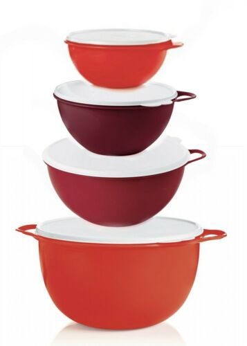 Tupperware Thatsa Mixing Bowls 4-Piece Set in Chromatic Red w/White Seals - NEW!