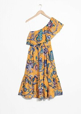 And Other Stories House of Hackney Yellow Floral Dress One Shoulder Asymmetric L