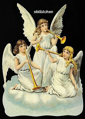 # GLANZBILDER # EF 5175 Bild - Karte / Riesenoblate : 3 Engel mit Trompeten, süß