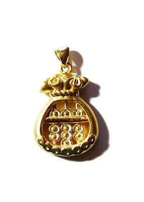 24K Yellow Gold Chinese Money Bag Abacus Charm Necklace Pendant ~ 2.9