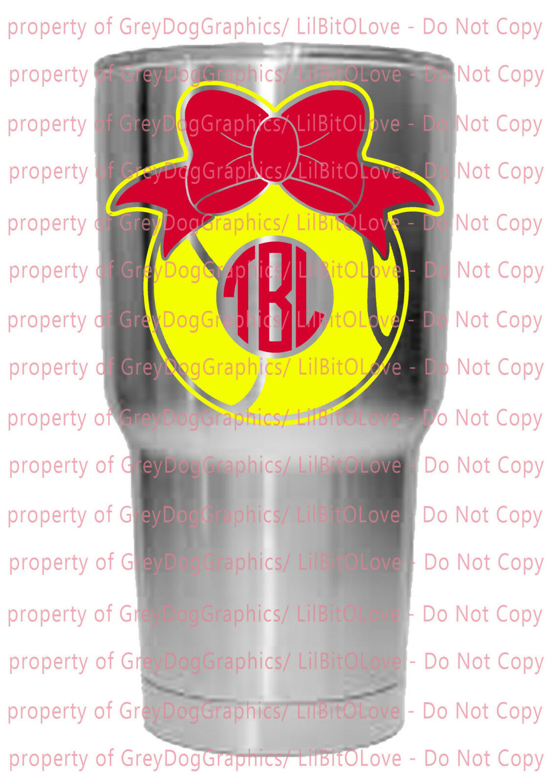Custom Yeti Size Tennis Monogram Vinyl Decal 2 Colors Bow Sticker fits RTIC